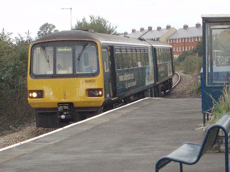 Train arrives in Melksham