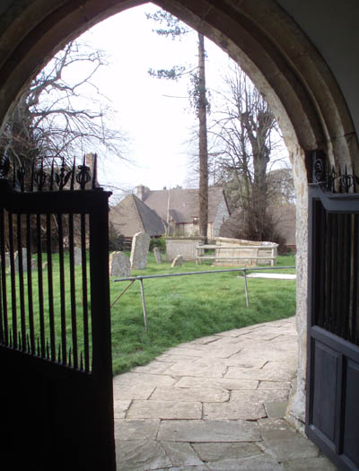 From the doorway of St Leonards Church, Keevil, Wilts