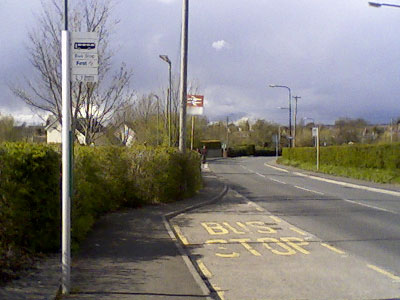 The bus stop outside a railway station