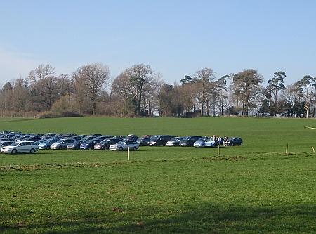 Parking in the filed to visit lambing at Lackham