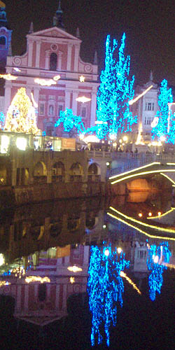 Nighttime reflections in Ljubljana