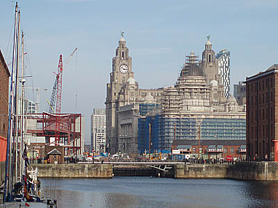 The Three Graces from Albert Dock, Liverpool