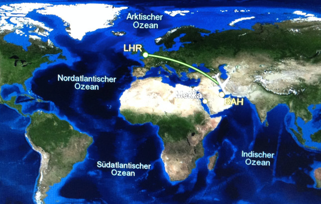Flight map London to Bahrain