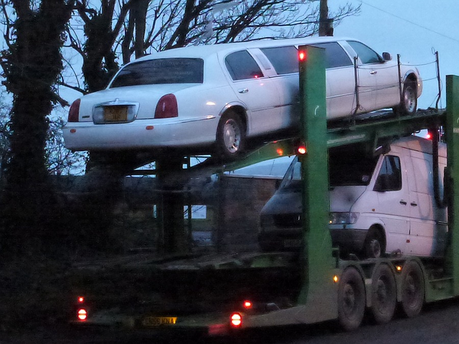 Stretched Limo on car transporter