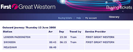Recommended connection by train to Melksham