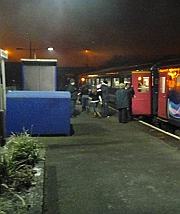 All aboard - the Santa Special to Swindon calls at Melksham