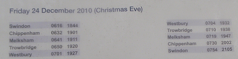 Train schedule for Christmas Eve
