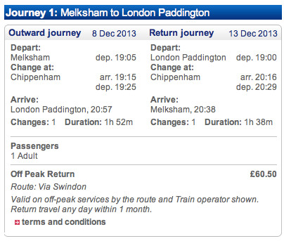 Booking a Melksham to London train journey