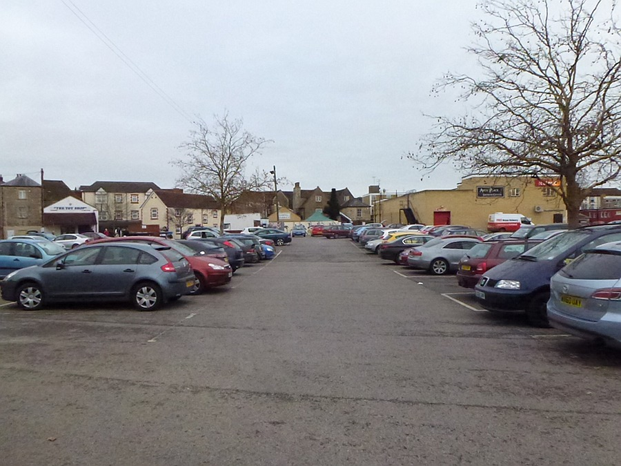 A busy car park in Melksham