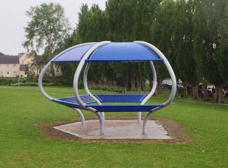 Covered seating in park