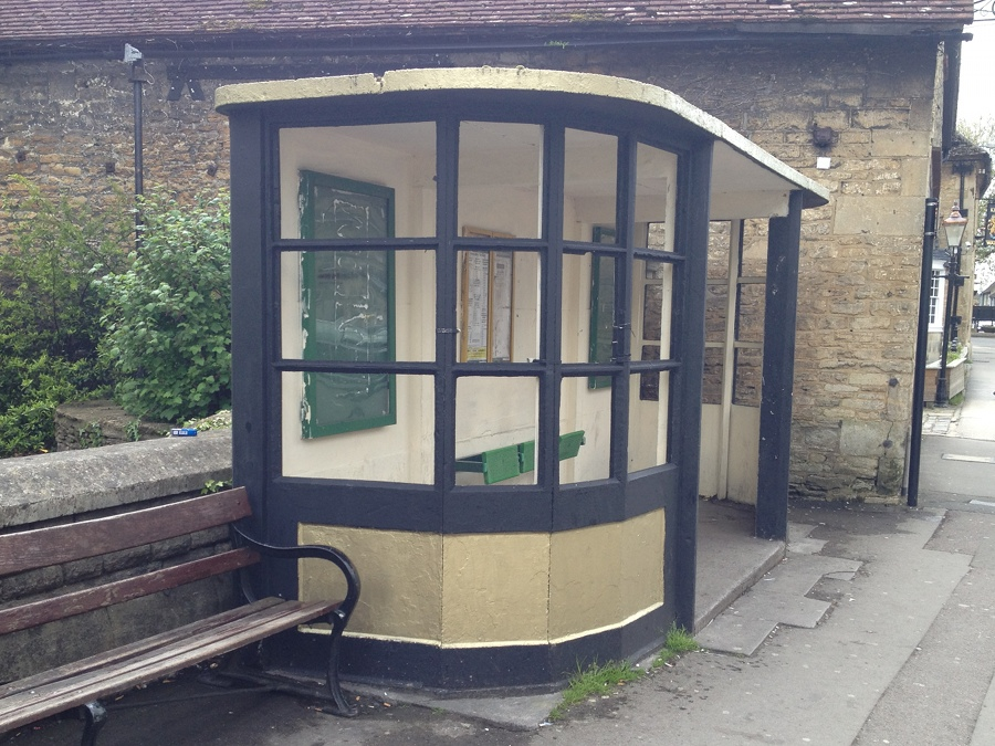 The old bus shelter at Melksham, Kings Arms
