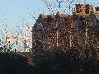Grade One listed building and construction crane