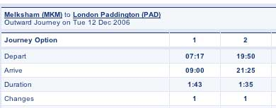 Melksham to Paddington Train Times