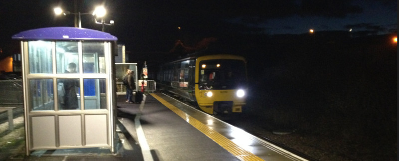 Melksham train after dark