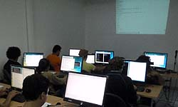 On site course - students learning Lua