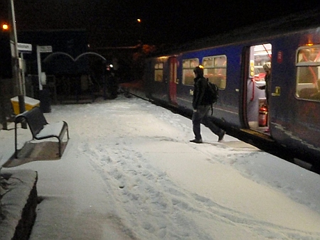Arriving at Melksham in the snow