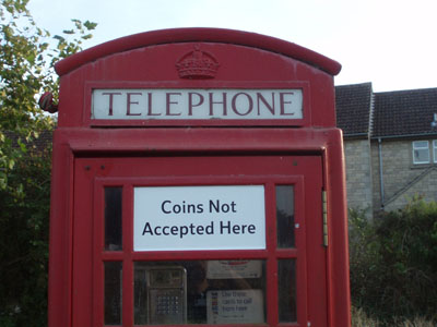 A payphone where you cannot pay!