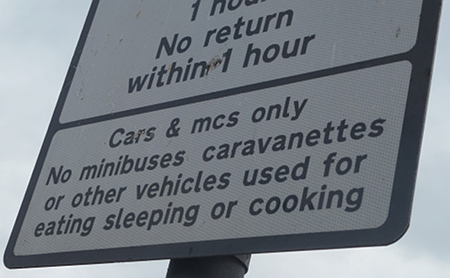No parking for vehicles in which you eat or sleep