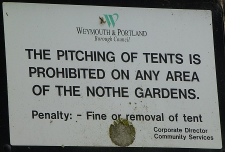 No pitching of tents