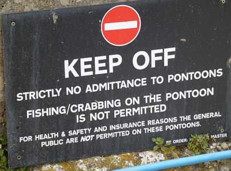 No crabbing from the pontoons in Weymouth