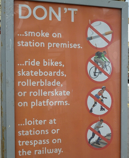 No skateboarding at the station