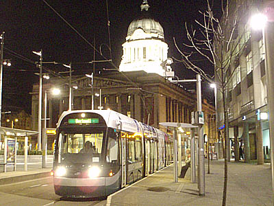 City Square, Nottingham, with Tram