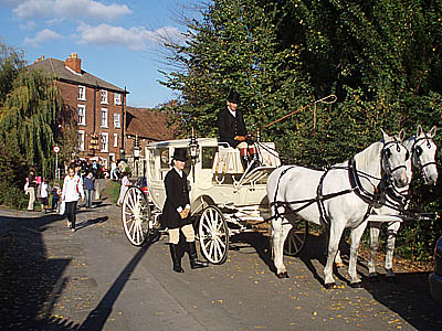 Horse and Carriage awaits Bride and Groom, Harnham