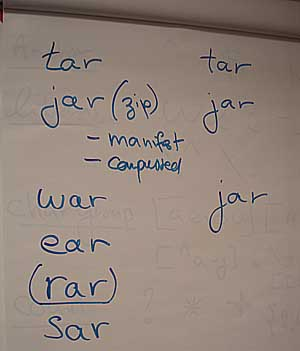 No car or bar - but we do have tar jar was ear sar and rar