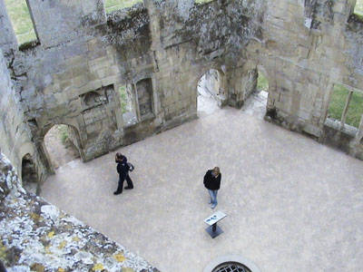 Visitors touring Old Wardour Castle