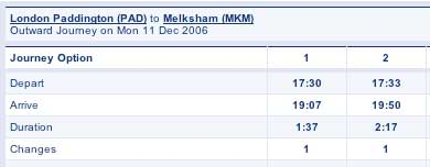 Paddington to Melksham Train Times