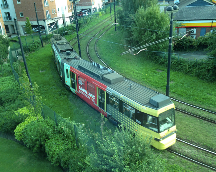 The tram from Eccles near Salford Quays
