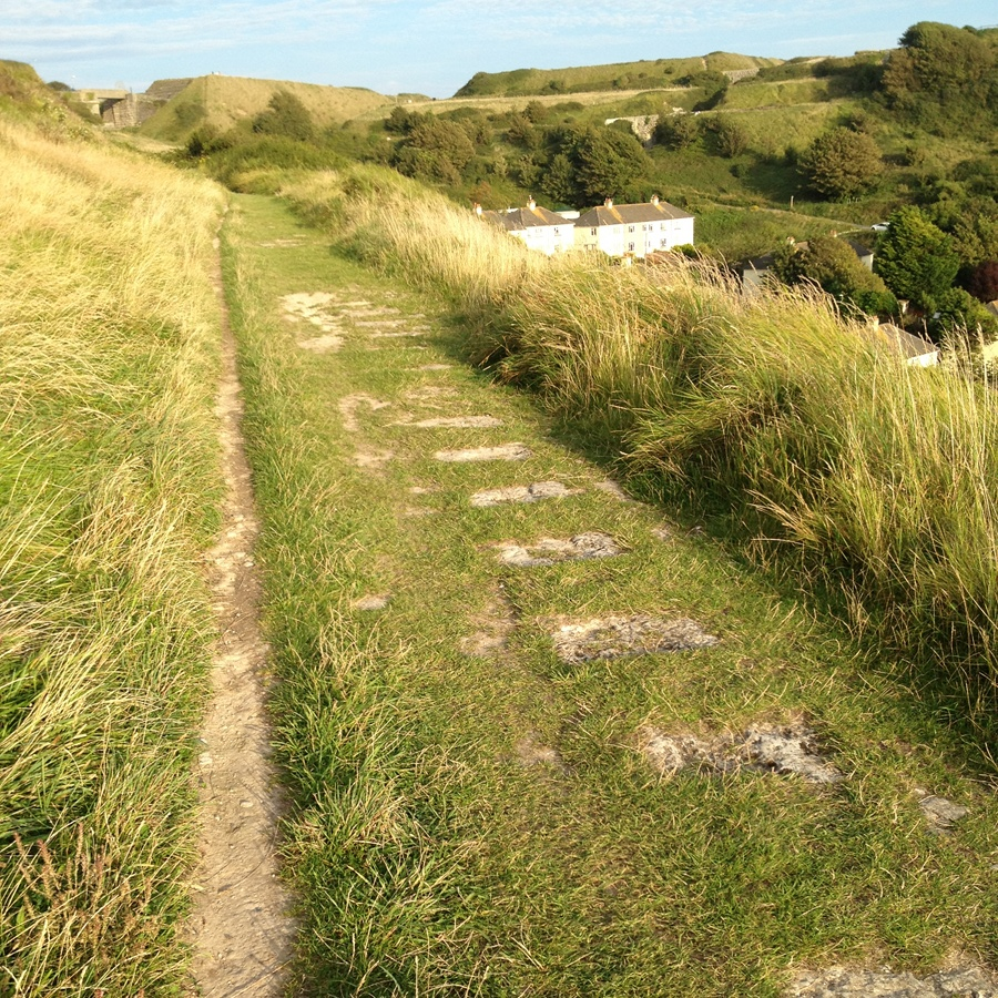 Old railway / plateway course and stone sleepers