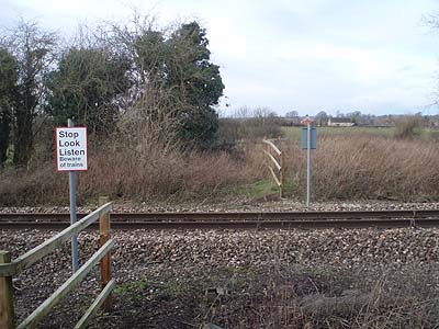 Unprotected railway crossing