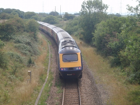 A diverted train heads towards Melksham