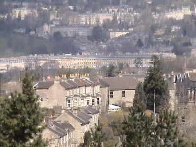Bath Royal Crescent across the valley