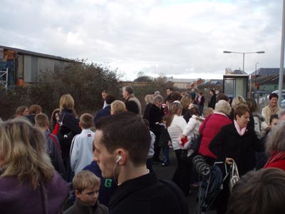 Crowds at Melksham station