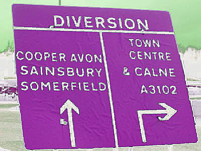 Road sign colours - white on purple