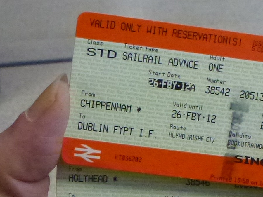Sailrail ticket to Dublin