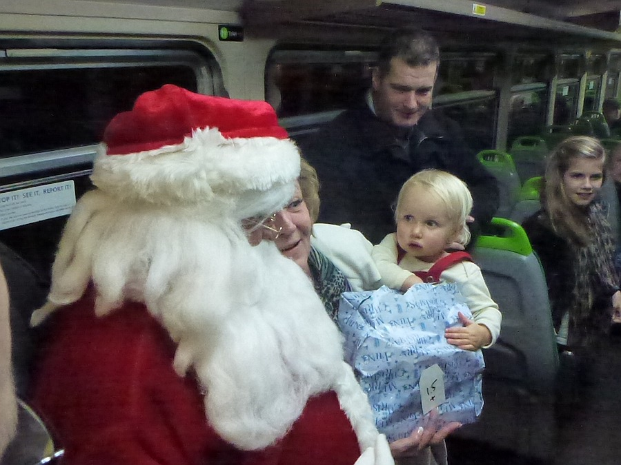 Santa on the TransWilts train from Melksham to Swindon
