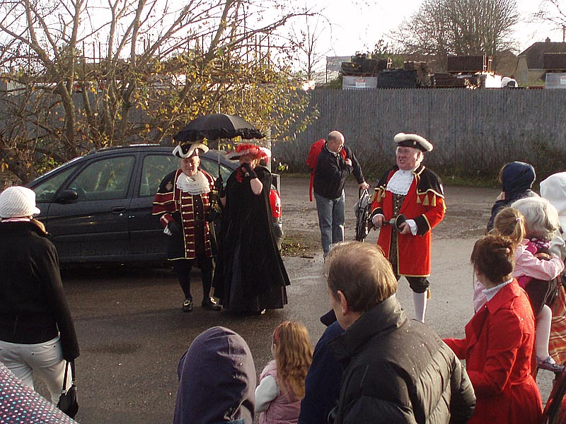 Melksham town crier at Melksham Railway station