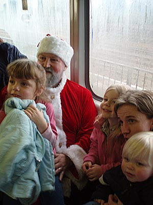 with Santa on the train