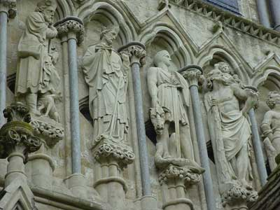 Detail on the west wall of Salisbury Cathedral