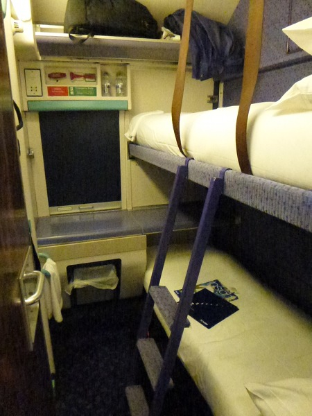 Standard class bed on sleeper train