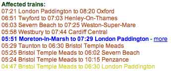 Rail Service Disruption in text