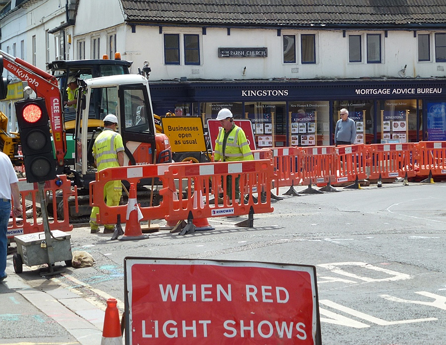 Road works in Melksham