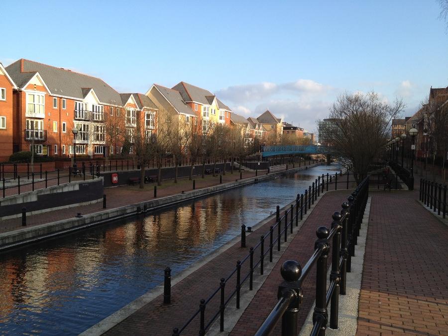 Waterway between the docks in Salford