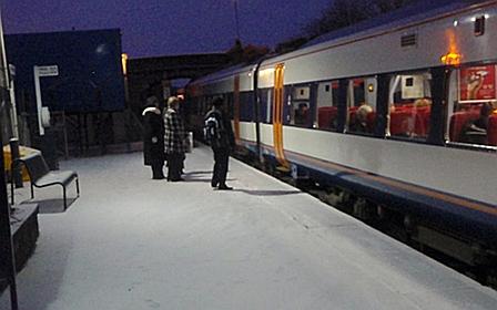 Melksham station in the snow