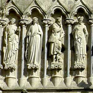 Stone people at Salisbury Cathedral