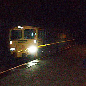 Freight passing Melksham at night