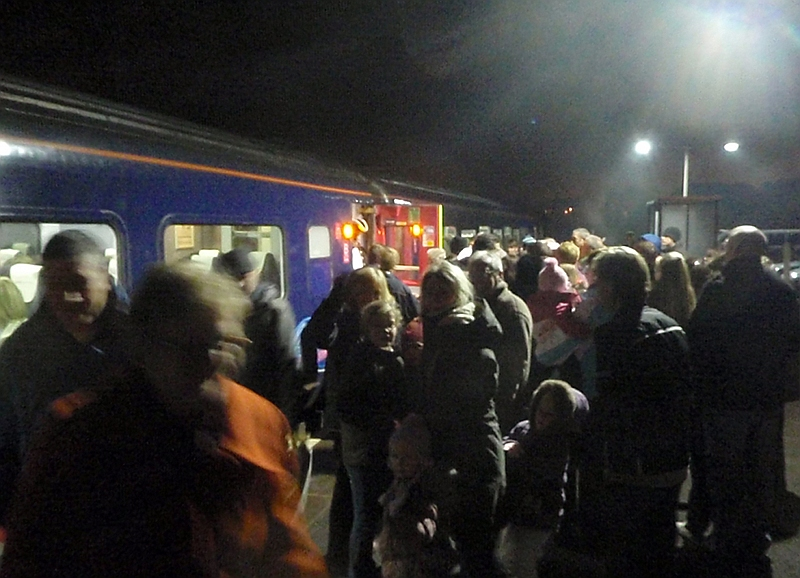 Crowd boarding Melksham Railway Development  Group Santa Special to Swindon